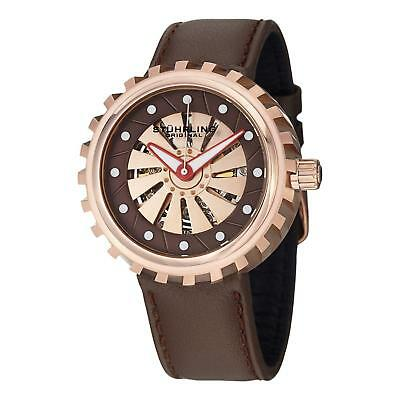 8c7c22ab523 Stuhrling Cyclone Men's 45mm Automatic Brown Calfskin krysterna Watch 726.04