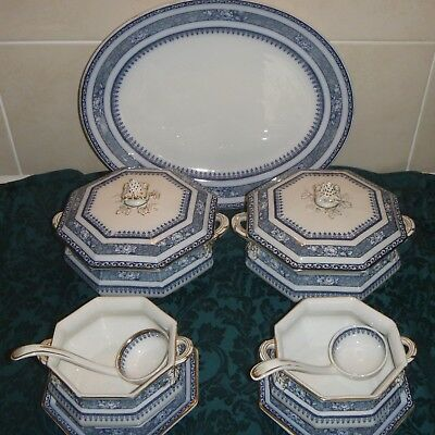 Losol Ware Keeping & Co Ormonde octagonal Soup & Sauce Tureens & 2 lids, ladles