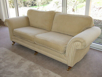 Vintage sofa settee - soft yellow/gold large four seater