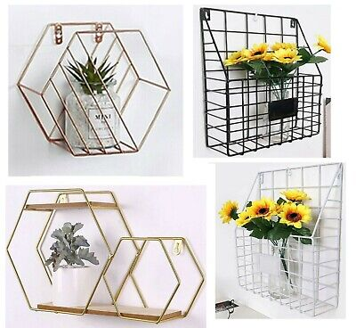 Metal Wire Wall Unit Industrial Style Basket Shelf Magazine Storage Rack Cabinet