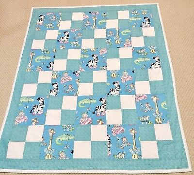 "New Handcrafted Cotton ""Nursery Party Animals"" 4-Patch Baby Quilt"