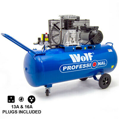 Wolf 150 Litre Air Compressor 3HP 14CFM 240v Twin Cylinder Pump Belt Driven