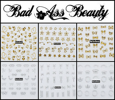 Gold Silver Crowns Bows 3D Nail Art Stickers UV Acrylic Decals Decorations