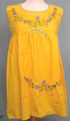 Mexican Women's Small / Medium Yellow Pink Blue & Green Embroidered Mexico Dress