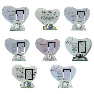 Glass Poem Photo Frame Memorial Plaque Tribute Candle Holder Graveside Ornament