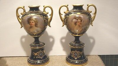 GORGEOUS 19C Royal Vienna Jeweled Pair 11 Inch Girl Portrait Vases Artist Signed