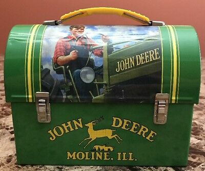 JOHN DEERE Collectible Metal Tin LUNCH BOX In Good Condition