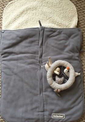 One Step Ahead Gray Sherpa Lined Warm Stroller Cover Footmuff Blanket