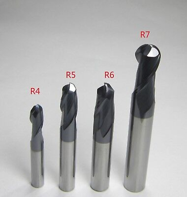 4PCS Ø 8mm 10mm 12mm 14mm HRC45 R4 R5 R6 R7 machine Carbide Ball Nose End Mills