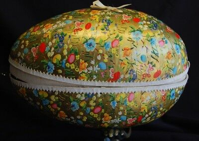 EXTRA LARGE Western Germany paper mache easter egg candy container Flowers 11.5""