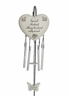 Special Husband Heart Memorial Wind Chime Tribute Plaque Ornament Butterfly New