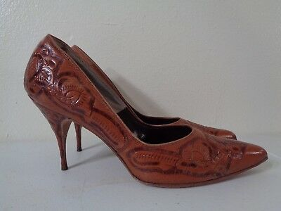 Vintage Tooled Leather Heels, Authentic Naitan Made in Mexico 1950