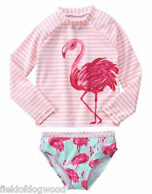 NWT Gymboree Girls Rash Guard SET Fruit Punch Flamingo 7-8, 10-12 Swimsuit