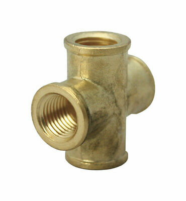"Jmf Pipe Cross 1/4 "" Fpt Yellow Brass Lead Free"