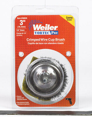"""Weiler Crimped Wire Cup Brush 3 """" 13000 Rpm Coarse"""