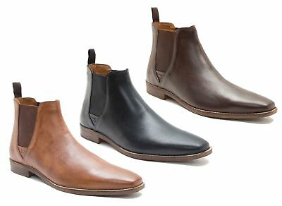 Red Tape Tapton Leather Pull On Chelsea Boots Mens Pointed Tan Black Brown Size