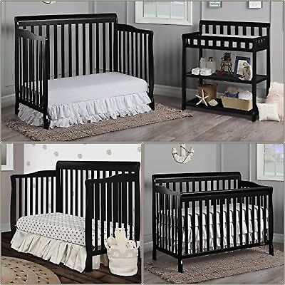 5-in-1 Convertible Mini Crib Toddler Bed Baby Bed Nursery Furniture NEW Black