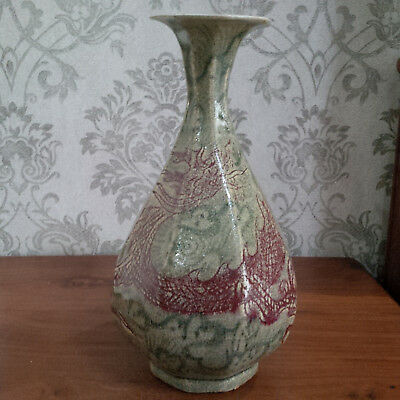 Extremely Rare Old and Antique Chinese Red Dragon Hexagonal Yuhuchun Vase