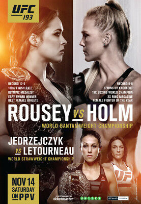 Ufc 193 Melbourne Rousey Holm Jedrzejczyk Whittaker Official Poster In Tube