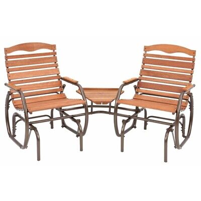 """Jack Post CG-30Z 35-1/2"""" X 75-1/4"""" X 36-3/4"""" 2 Seat Wood Glider With Table"""