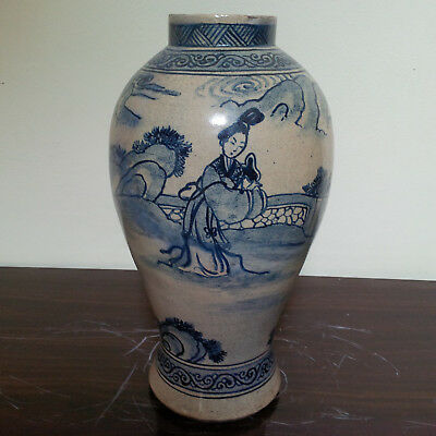 Real Old and Antique Chinese B/W Handpainted 'Chinese Women' Figure Vase