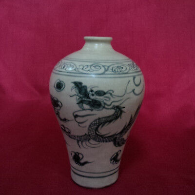 Old and Antique Chinese Yuan-Ming Blue and White Dragon Small Meiping