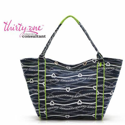 New Thirty One summer Tote-Ally awesome beach utility bag 31 gift in Chains ahoy