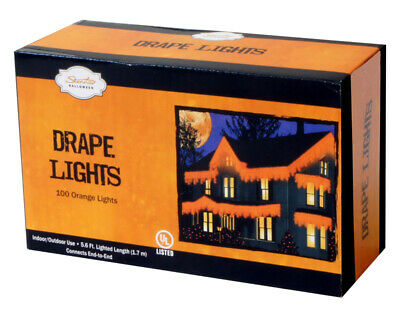 "Celebrations Halloween Drape Lights Indoor/Outdoor Orange 4"" Spacing 4"" 10' Tota"