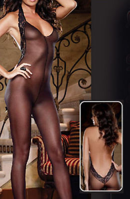 Sexy Crotchless Black Sheer Erotic Bodystocking Bodysuit Lingerie One Sz