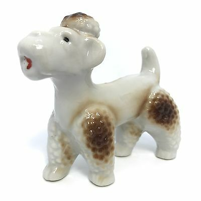 Vintage Poodle Dog Ceramic Porcelain Figurine w/ Top Knot Made in Japan
