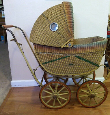 Antique Wicker Baby Buggy Stroller Carriage Doll Old Vintage