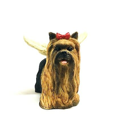 Yorkshire Terrier Handmade Figurine With Angel Wings Ornament Statue Gift