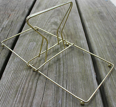 Mid Century Modern Desk Top Sliding Adjustable Wire Book Stand Ends Brass Tone