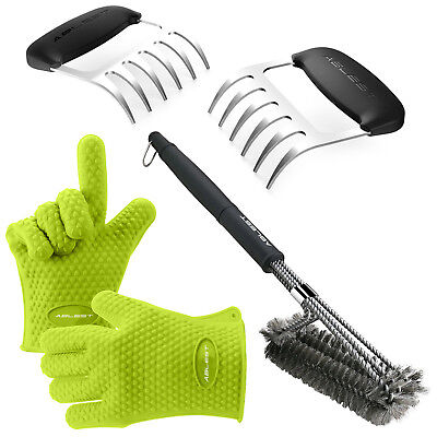 Silicone BBQ 3 Piece Set - Heat Resistant Gloves & Meat ClawsGrill Brush