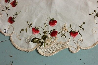 """Antique Silk Society Work Hand Embroidered Strawberries On Linen c1910~20""""LX16""""W"""