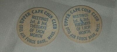 Lot 2 wooden nickels Upper Cape Cod Coin Club Otis Air Force Base, Massachusetts