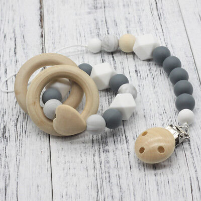Pacifier Clip Wooden Organic and Silicone Beads, Rattle Holder