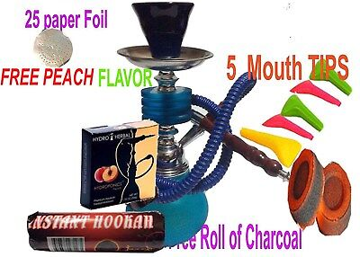 2 Hose Hookah Glass Water Vase Nargila with charcoal-hydro Flavor&Tips,foil blue