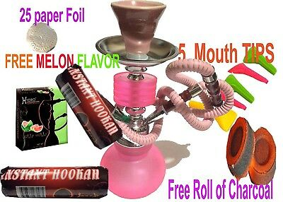 1 Hose Hookah Glass Water Vase Nargila with charcoal-hydro Flavor& Tips , foil