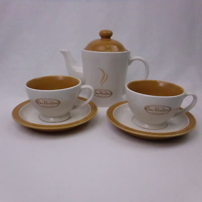 Tim Hortons Coffee Tea Pot and 2 Cups and Saucers Collectible Set