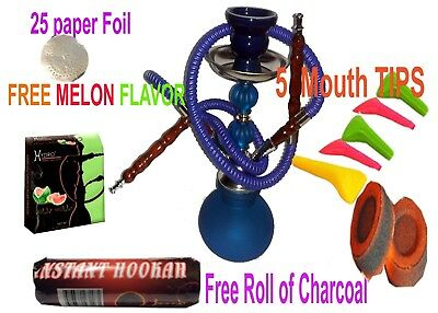 2 Hose Hookah Glass Water Vase Nargila with charcoal-hydro Flavor& Tips , foil