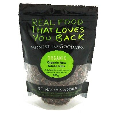 3X Honest to Goodness Organic Cacao Nibs 200g - 3 items for Free Shipping