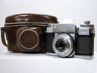 Beautiful ZEISS IKON CONTAFLEX 35mm Camera With Carl Zeiss Lens & Leather Case
