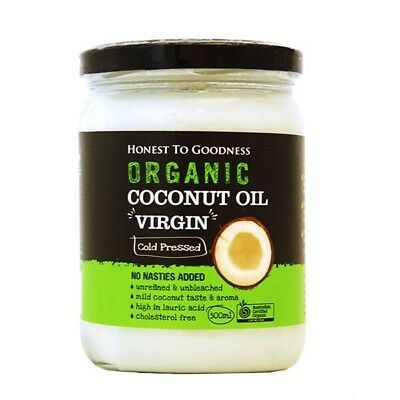 3 X Honest to Goodness Organic Coconut Oil Virgin 500ml - 3 Items for FreeShippi