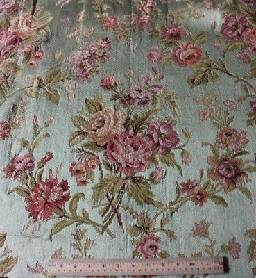"Antique French 19thC Rose Bouquet Tapestry Silk & Cotton Fabric~1yd13""LX43""W"
