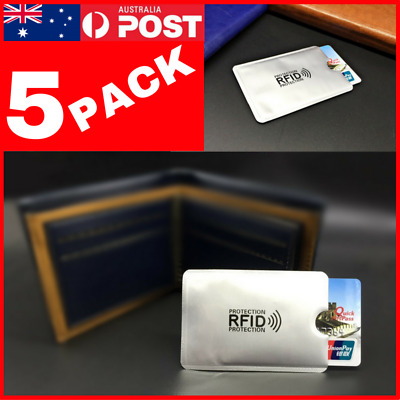 5 PACK RFID Secure Credit Card Blocking Sleeves Protector Anti Skim Scan Blocker