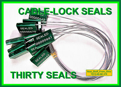 Cable-Lock Security Seals, Cargo / Tanker, Dark-Green, All-Metal, Thirty Seals