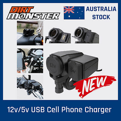 12v Motorcycle ATV Waterproof USB Charger Phone GPS Power Socket Adapter Outlet