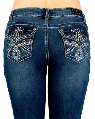 EARL JEANS NEW Size 8  Embroidered Bling Me Slim~Boot Super Cute!