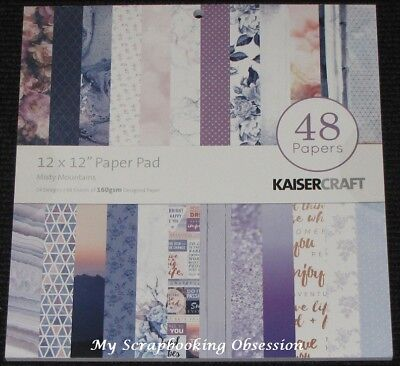 "Kaisercraft 'MISTY MOUNTAIN' 12x12"" Paper Pad 48 Sheets (24 Designs x2) KAISER"